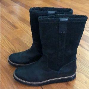 Clarks Glick Elmfield Black Suede Leather Boot 7.5